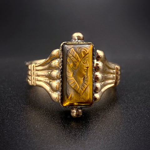 Antique 8K & Tigers Eye Cameo Ring