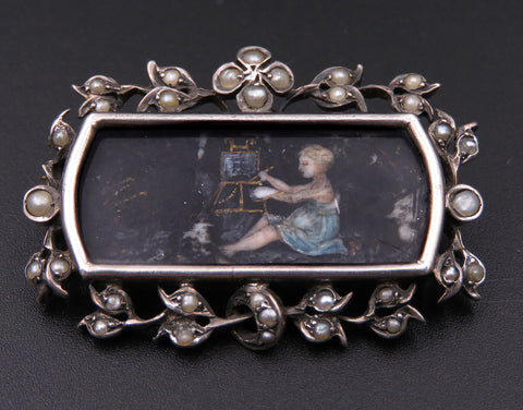 French Napolean III Period Painted Portrait Silver and Pearl Brooch