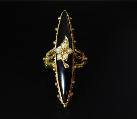 SOLD--Pearl, Onyx & Gold Navette Ring