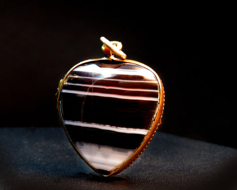 Victorian Banded-Agate Heart Locket