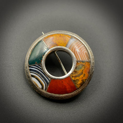 SOLD Scottish Agate and Silver Brooch c. 1920s