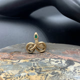14K Gold & Emerald Reproduction Museum Replica Snake Ring
