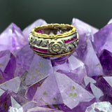 Vintage 18K White & Yellow Gold Diamond and Ruby Gardenia Band