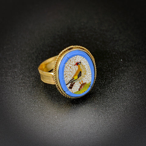 Antique Silver & 14K Gold  Italian Micromosaic Bird Conversion Ring