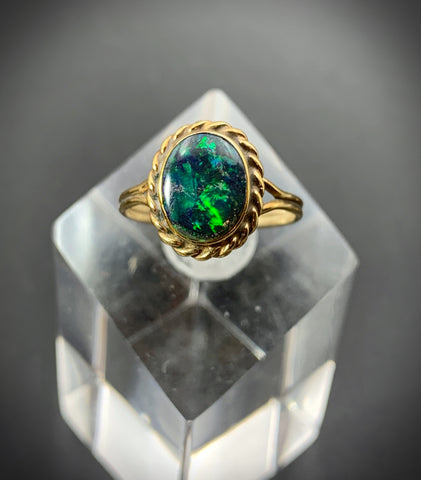 Antique 14K & Black Opal Conversion Ring