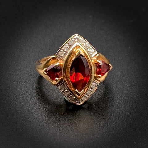 10K Gold, Diamond & Garnet Navette Ring