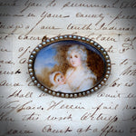 Lovely Antique 12K Hand Painted Nursing Mother  Brooch w/Seed Pearls