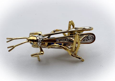 18k, Diamond & Enamel Grasshopper Insect Brooch/Pin