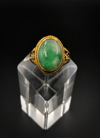 18K Chinese Gold Jade Ring