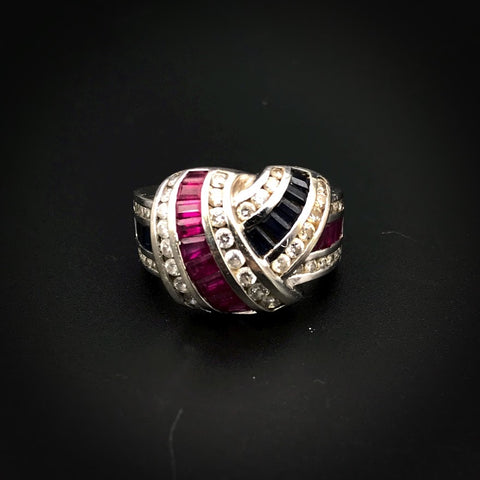 SOLD--14K Gold Diamond Ruby & Sapphire Pave Ring