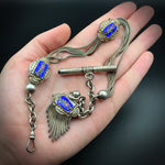 Antique French Silver & Enamel Watch Chain