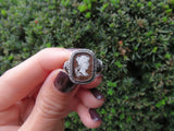 SOLD Reverse Intaglio Butterfly-Backed Cameo Portrait Ring