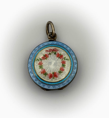 SOLD~ Antique French Guilloche Enamel & Silver Locket