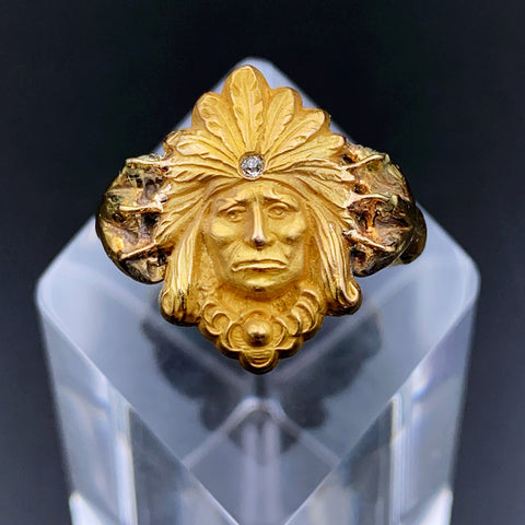 Victorian Indian Chief Cuff-Link Conversion Ring 14K Gold w/Diamond