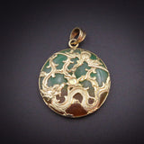 14K Gold Jade Dragon Pendant