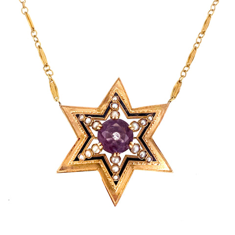 Victorian 18K, Amethyst, Seed Pearl & Diamond Star on 14K Gold Chain