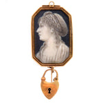 Lady's Portrait 15k Gold Brooch Hallmarked Netherland Late 19th Century