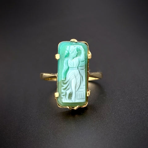 Antique 9K & Carved Green Agate Cameo Ring