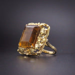 SOLD--Striking 14k Gold Whiskey Citrine Large Ring