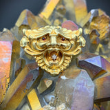 SOLD Art Nouveau 14K Gold Lion Face with Diamond & Ruby Eyes Brooch