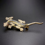 Antique 18K, Diamond, Sapphire & Ruby Lizard Brooch