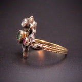 14K Gold, 10K Gold,Emerald, Ruby, Onyx, & Diamond  Giardinetti Ring Circa 1810
