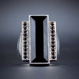 Sterling Silver, Onyx & Black Diamond Georg Jensen Ring