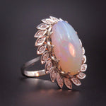 Huge Opal, Diamond, & 14k White Gold Cocktail Ring
