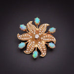 Opal, Diamond, Pearl, & 14k Gold Pendant/Brooch