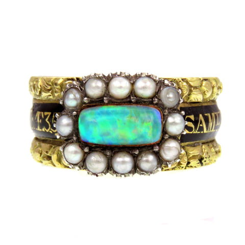 Opal Pearl and Black Enamel Georgian Mourning Ring c.1817