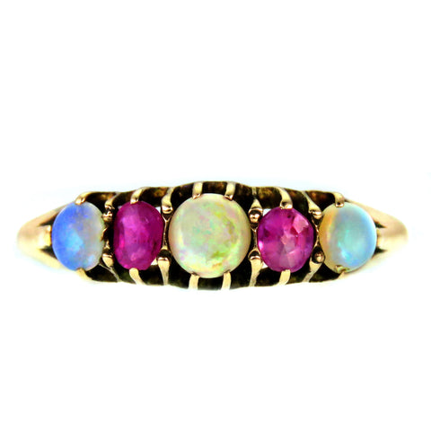 Opal and Ruby Paste 9k Gold Ring