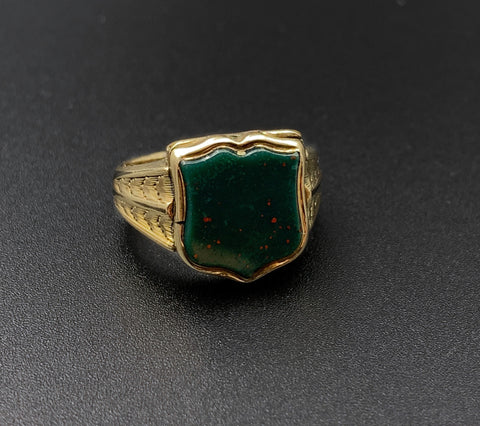 14k Bloodstone Signet Ring With Secret Compartment