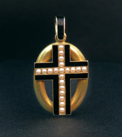 Gold Cross w/ Pearls & Enamel Memento Inscribed Locket 1857
