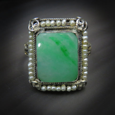 Vintage Silver Chrysoprase Ring with Seed Pearl Halo