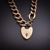 SOLD Antique English 9K Heart Padlock Gate Bracelet