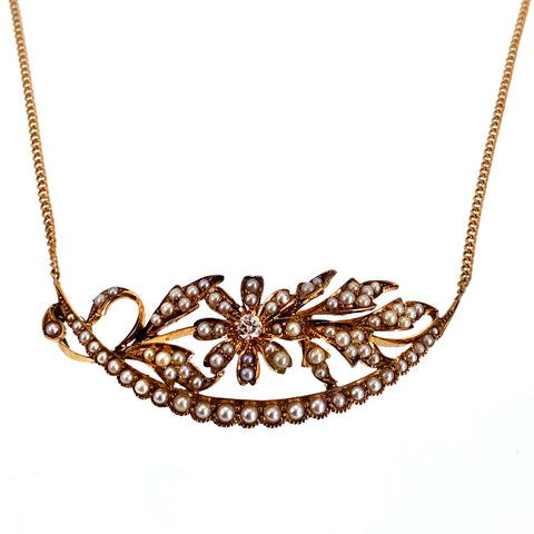 12K & 14K, Seed Pearl, Diamond Crescent & Floral Conversion Necklace