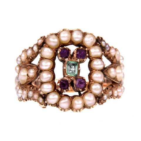 SOLD--Pearl Amethyst and Emerald 14k Gold Georgian Ring