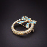 Turquoise and Pearl 14k Gold Bow Horseshoe Brooch