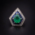 SOLD Platinum Art Deco Diamond, Emerald, & Sapphire Ring