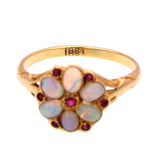 Flower Petal Opal and Spinel 18k Gold Ring