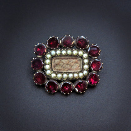 10K Garnet & Pearl Halo Mourning Brooch w/Plaited Hair (Early 19th Century)
