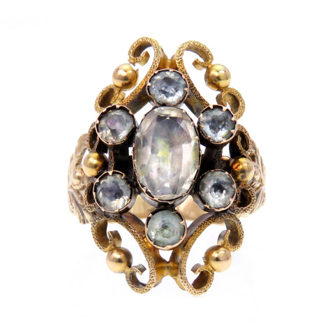 14K Foiled Aquamarine Early 19th Century Conversion Ring