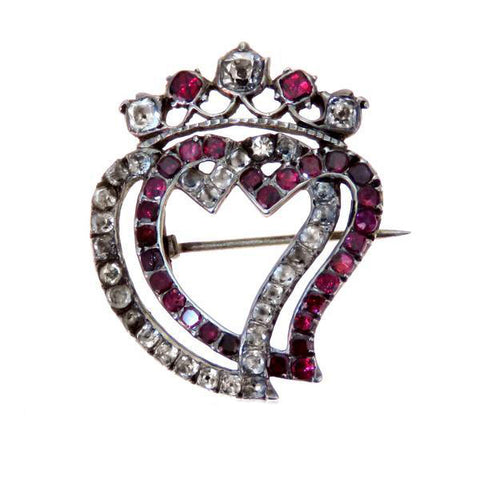 Garnet and Paste Silver Heart Crown Georgian Brooch