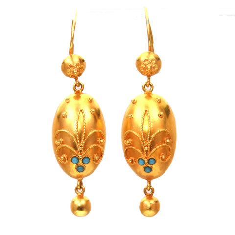 SOLD--Turquoise Milgrain Etruscan Revival 15k Gold Earrings