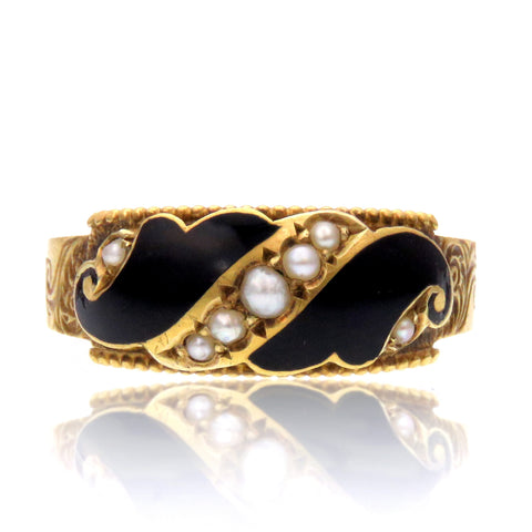 Inscribed Pearl and Black Enamel 15k Gold Mourning Band c.1900