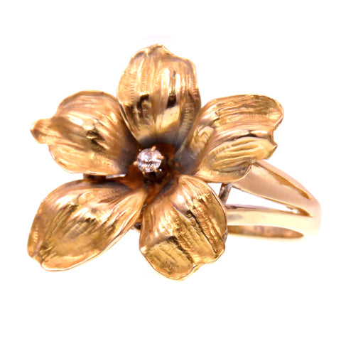 14k Gold Conversion Flower Diamond Ring