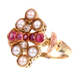Victorian Ring of Rubies Pearls and Diamonds  Set in 18K/14K Gold