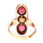 Pink Tourmaline & Pearl 14K Yellow Gold French Early 19th Century Ring