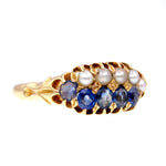Late Victorian Sapphire and Pearl 14k Gold Ring