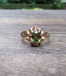 Oval Brilliant Demantoid Russian Ring 14k Rose Gold